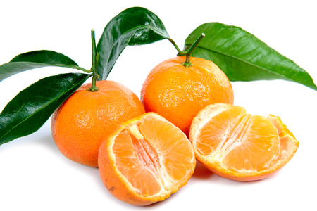mandarin oranges on the white background Stock Photo