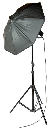 Umbrella photographer on the white background photo
