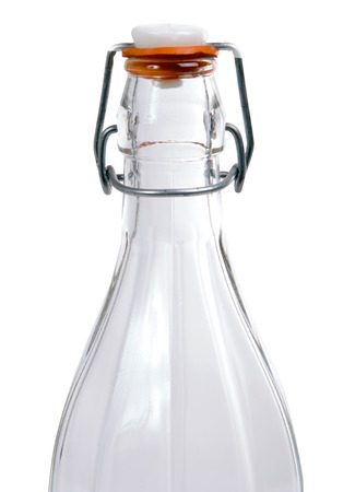 glass water bottle on the white background