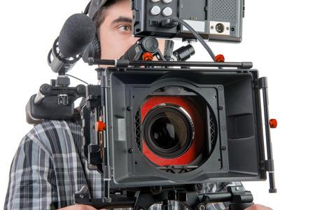 흰색 배경에 DSLR 카메라와 함께 카메라맨 스톡 콘텐츠