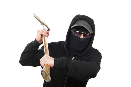 offender: an offender attack with ax on the white background