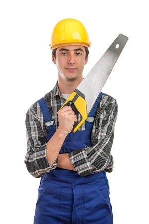 young worker with a handsaw on the white background photo