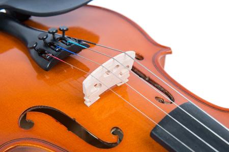 re design: close up on the bridge of a violin Stock Photo