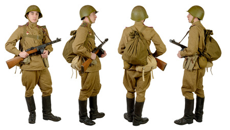 wwii: Soviet soldier in wwii, front, profile and back Stock Photo