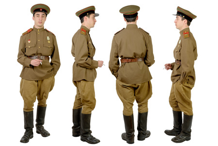 Soviet soldier in wwii, front, profile and back Stock Photo