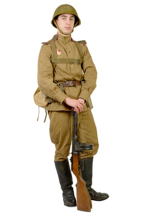 wwii: Soviet soldier in wwii on the white background Stock Photo