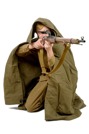 sniper: Soviet sniper with his rifle on the white background