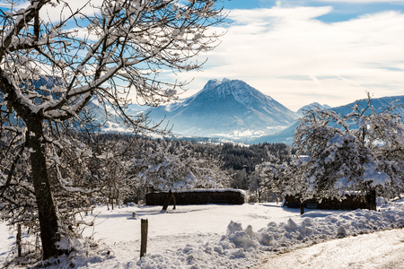 wintry: a wintry landscape with snow in mountain