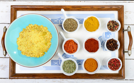 piri piri: Indian spices assortments on a tray Stock Photo