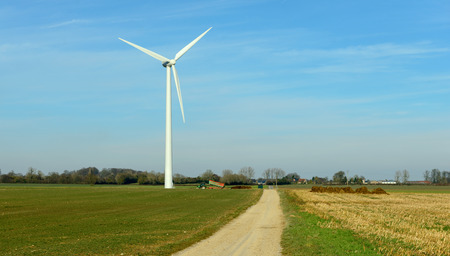 french countryside: a wind turbine in the French countryside