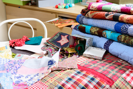 workshop of a seamstress with fabric and patchwork