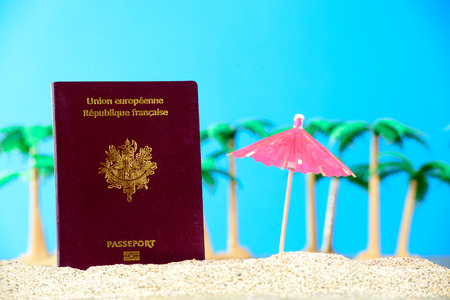 French passport in the sand of a beach with palm trees