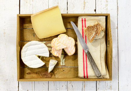 cheeses: tray different french cheeses with bread Stock Photo