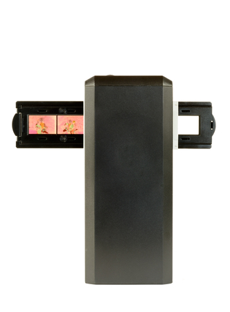 reproducing: Scanner for slides and film on white  Stock Photo