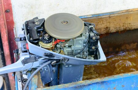outboard: test of small motor of outboard