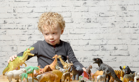 a little child plays with toys animals and dynosaurs