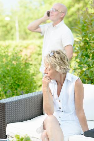 unfaithful: a woman jealous of her husband on phone