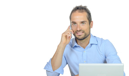 phone professional: a young businessman on phone on white background