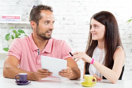 go shopping: a young couple go shopping on internet Stock Photo