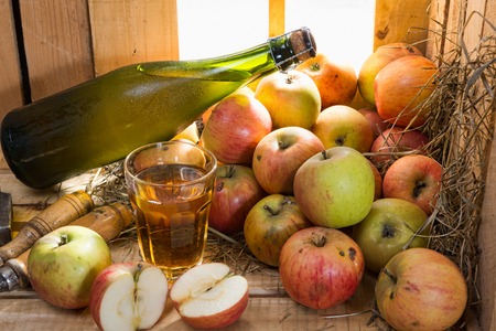 cider: bottle and glass of cider with apples Stock Photo