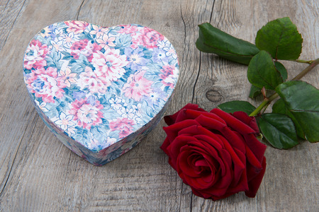 heart shaped box: heart shaped box with a red rose
