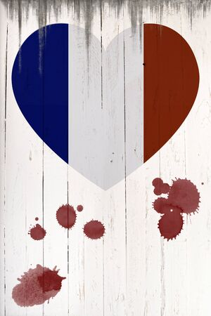 french board: French flag in heart shape whit blood on a  old white wooden board