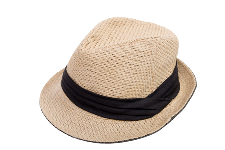 hatband: beige hat with a black ribbon on a white background