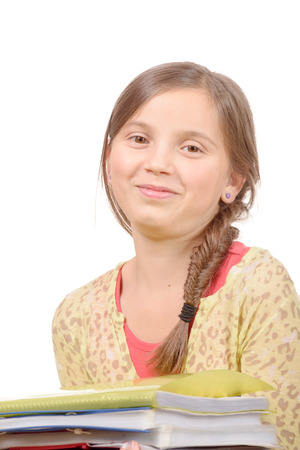 11 year old: portrait of a 11 year old schoolgirl isolated on a white background