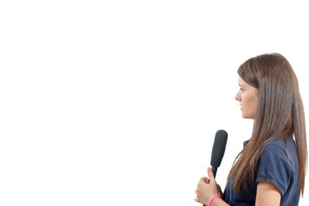 correspondent: a young woman journalist with a microphone isolated on white background