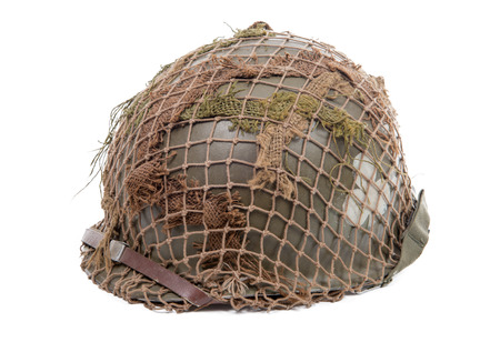 ww2: ww2 US military helmet isolated on a white background Stock Photo