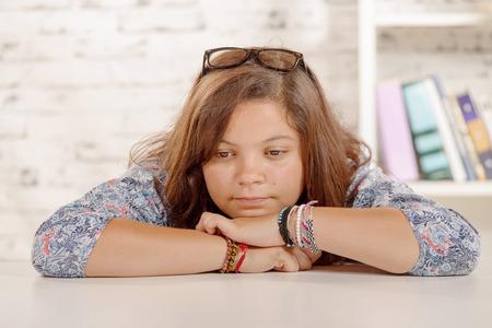 pretty teenage girl: a portrait of a pensive teen Stock Photo