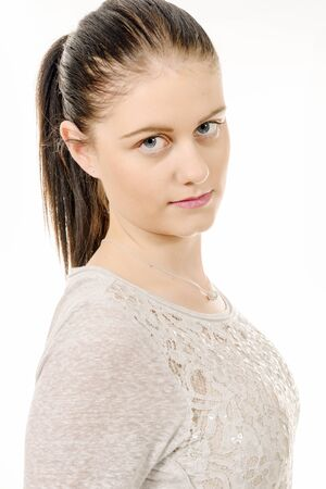 tied hair: a young woman with hair tied isolated on the white background