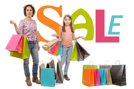 go to the shopping: A mother is her daughter go shopping during sales