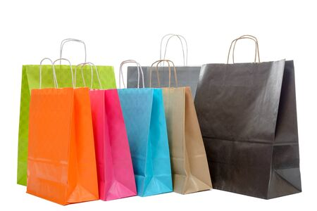 shoppers: Shopping bags collection isolated on white background