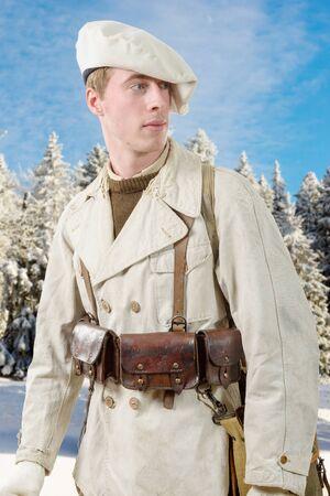 seconda guerra mondiale: un francese soldato di fanteria di montagna durante la Seconda Guerra Mondiale Archivio Fotografico