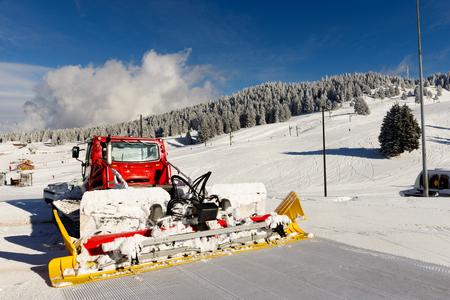 snowcat: a snowcat, machine for snow removal, preparation ski trails