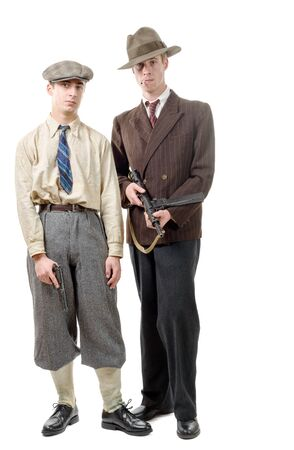 gangster: two gangster in vintage clothing, with guns, on white