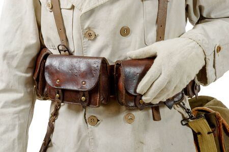 wwii: a closeup of wwii french leather ammo pouch