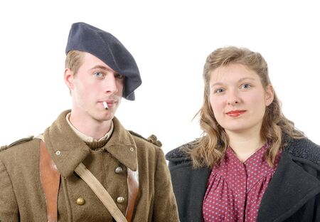 40s: a portrait of a French soldier and his wife, 40s Stock Photo