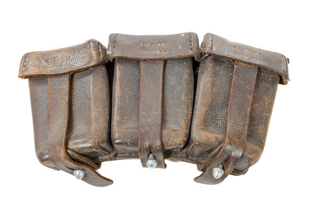 ammo: ww ii german leather ammo pouch isolated on white background