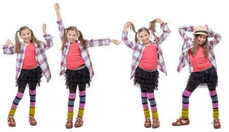 ponytails: fours views of young girl in hipster style, with ponytails, isolated on white Stock Photo