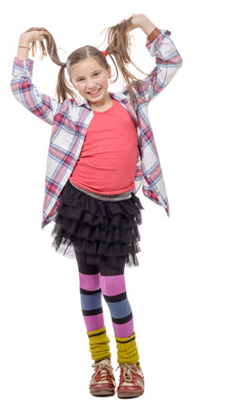 ponytails: a funny young girl in hipster style, with ponytails, isolated on white