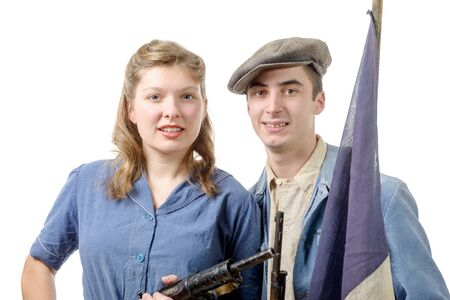 resistant: a couple young resistant during WWII, isolated on white