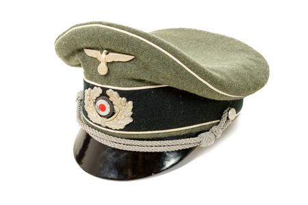reenaction: a german in the Second World War. German officer uniform cap Stock Photo