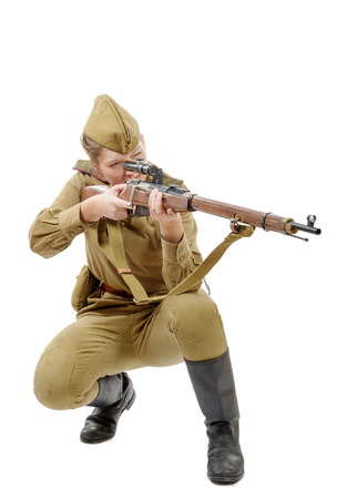 re enacting: a Russian girl soldier. WW2 reenacting isolated on white