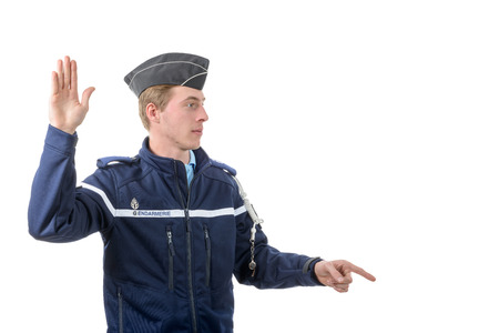 a french policeman isolated on the white background