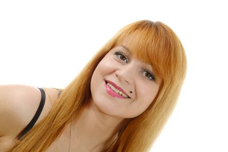 beautiful redhead: a beautiful redhead woman with long  hair, on white Stock Photo