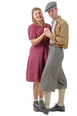 humilde: unos j�venes bailarines pareja en ropa de �poca, 40s
