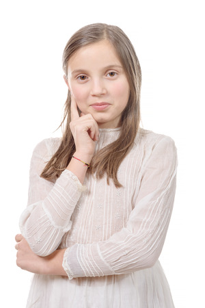 a portrait of preteen girl isolated on a white background Stock Photo