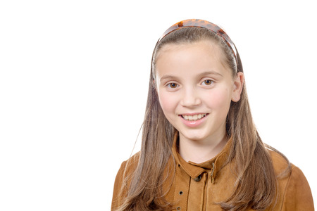pre adolescents: portrait of preteen girl isolated on a white background